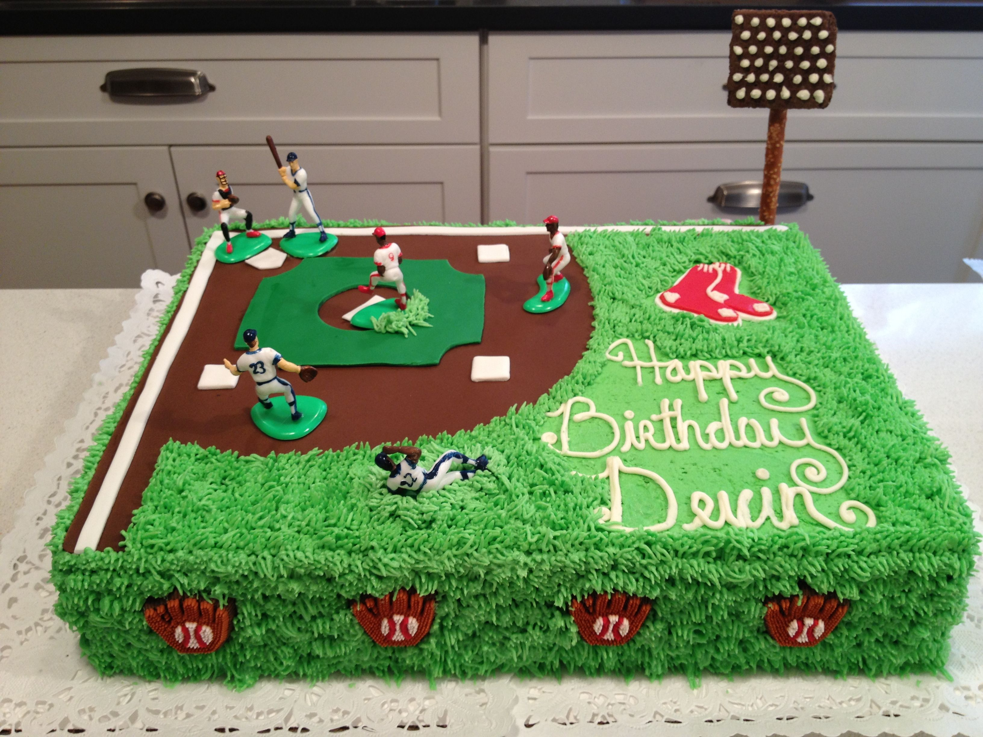 Red Sox Baseball Field Cake With Images Baseball Birthday