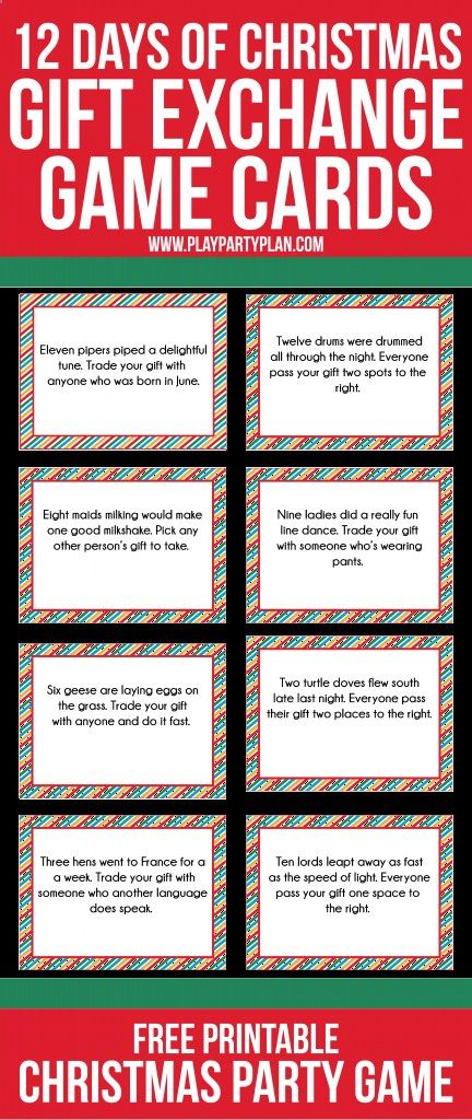 Free printable gift exchange games for christmas
