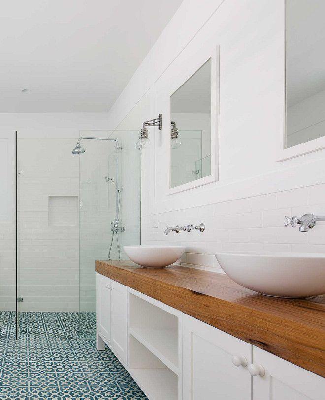 Modern Farmhouse Bathroom With Thick Butcher Block Countertop