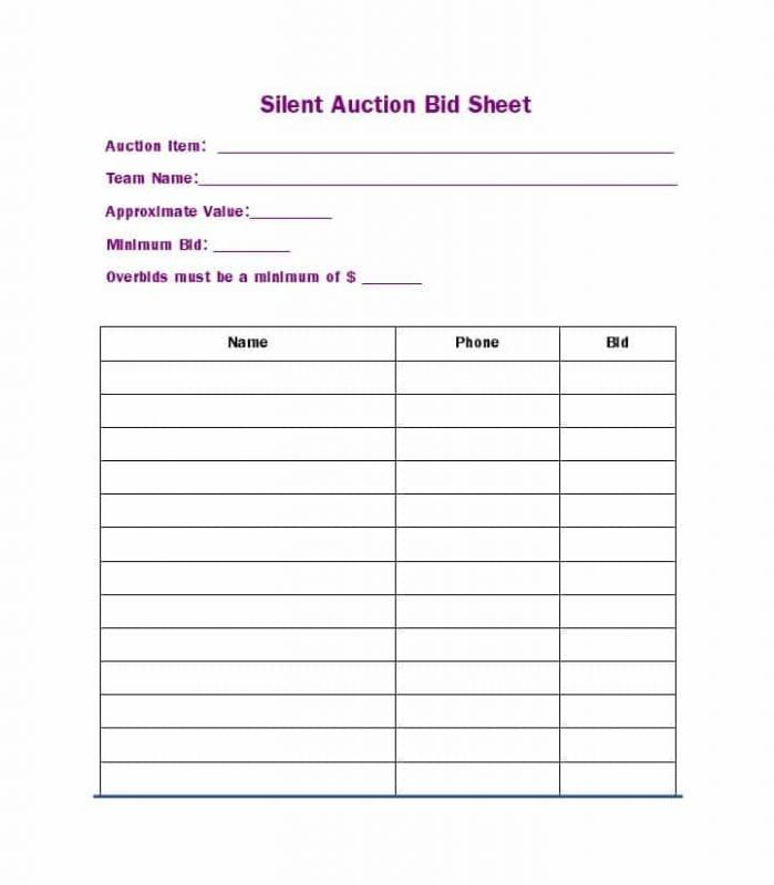 excel spreadsheet for silent auction
