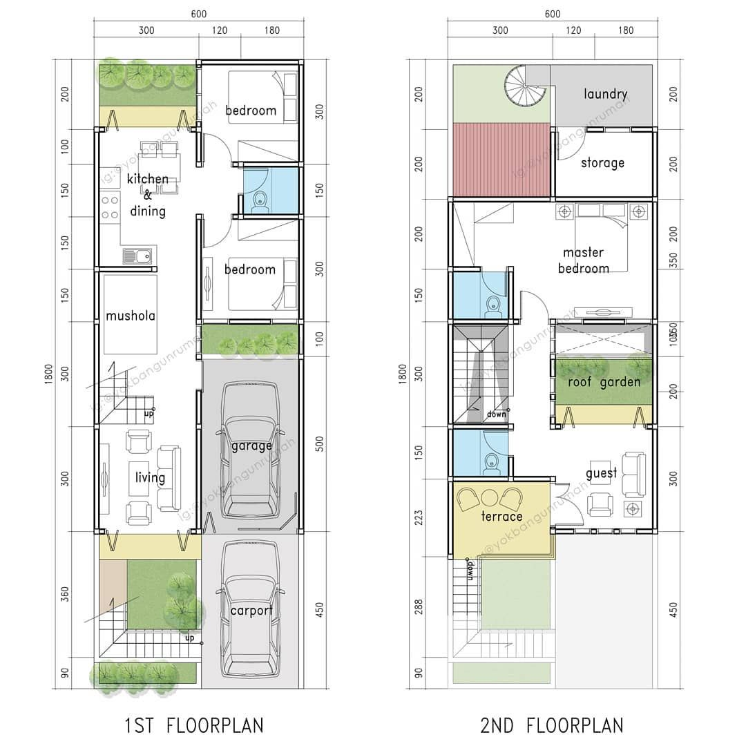Denah Rumah Lebar 6x18 2lantai Ini Alternatif Dari Post Sebelumnya Lantai 2 Nya Full Alias Dimaksimalkan Penuh Hehehe Dan Kamar U Denah Rumah Rumah Desain