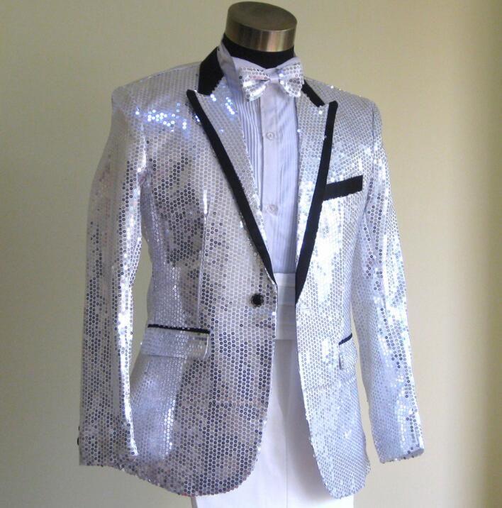 Sequins silver blazer men formal dress latest coat pant designs suit ...