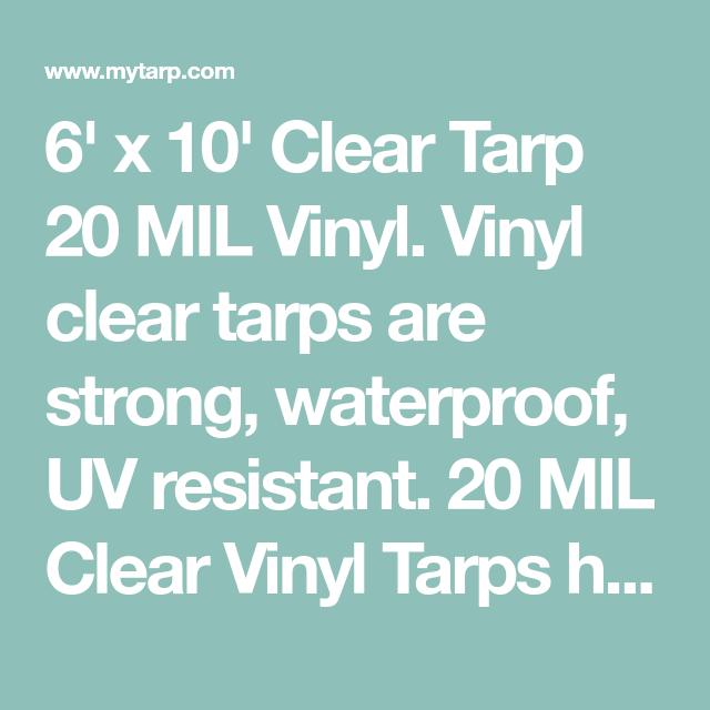 Sigman 6 X 10 Clear Vinyl Tarp 20 Mil Made In Usa Clear Vinyl Vinyl Tarps