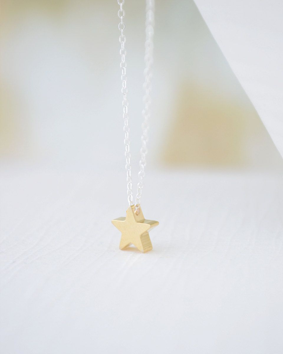 Gold Star Necklace On Silver Chain So tiny and simple This one