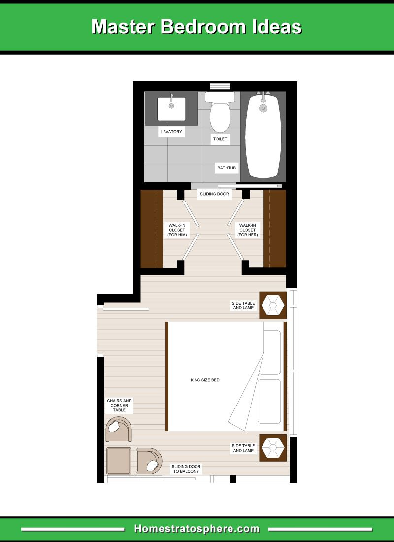 Long And Narrow Master Bedroom Layout With A Seating Area 2 Walk In Closets For Him And For Master Bedroom Plans Basement Master Bedroom Bathroom Floor Plans