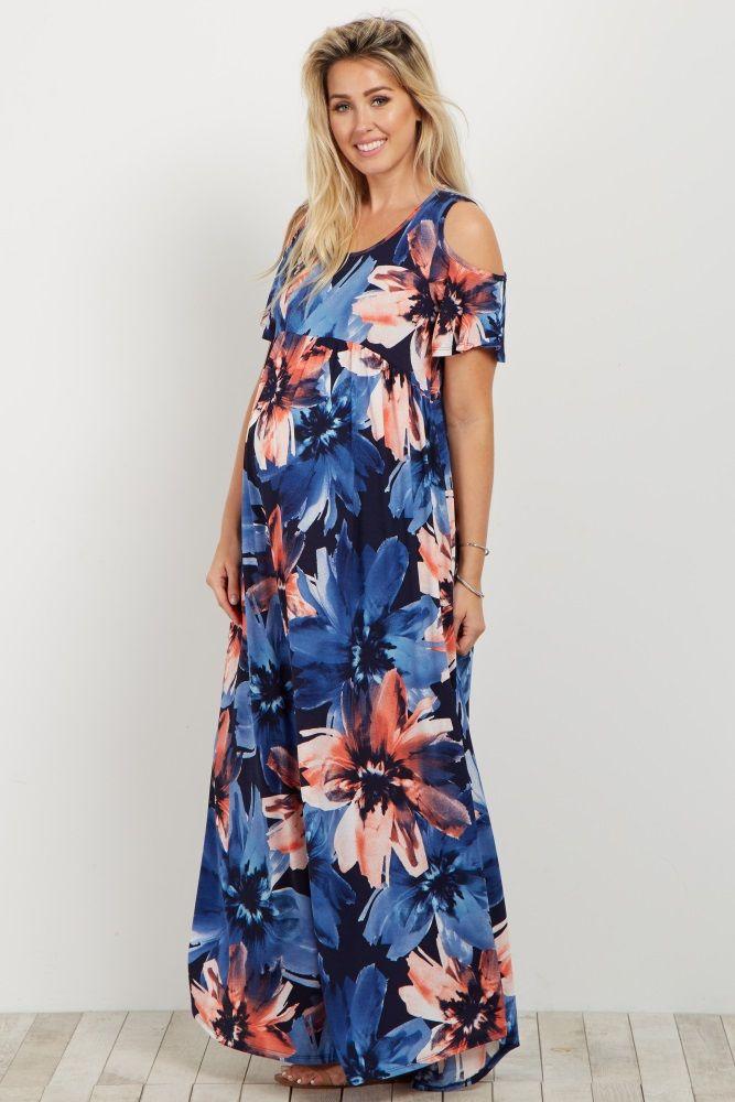 23fe590d904 Black Floral Cold Shoulder Maternity Maxi Dress