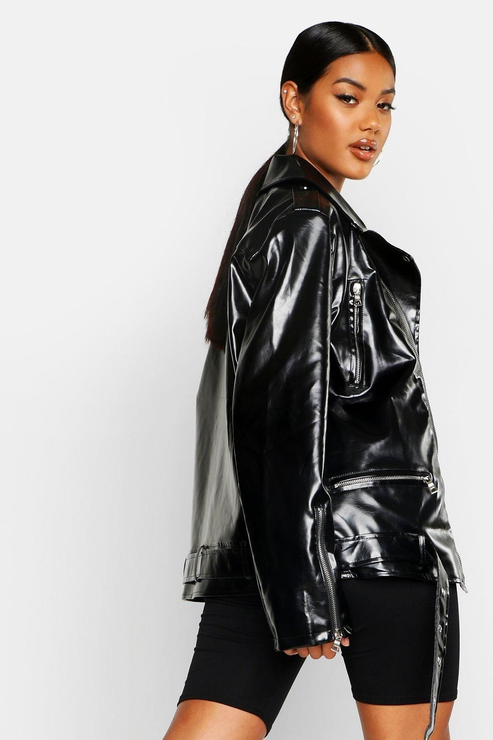 Oversized Faux Leather Biker Jacket boohoo in 2020