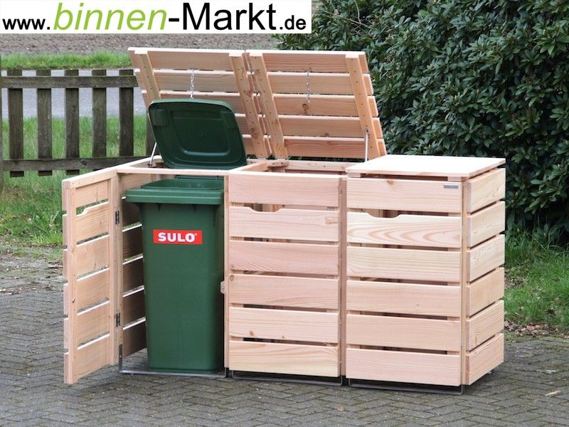 3er m lltonnenverkleidung holz natur m lltonnenbox holz natur garten pinterest. Black Bedroom Furniture Sets. Home Design Ideas