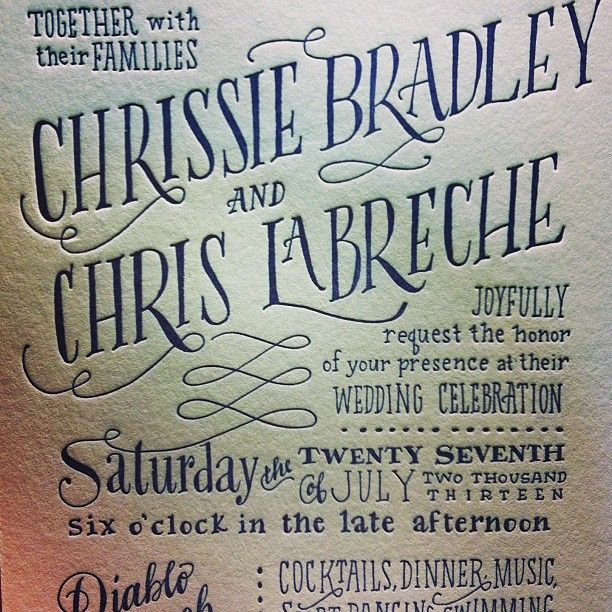 A close up of the invite! Hand drawn and letterpress printed by www.ladyfingersletterpress.com
