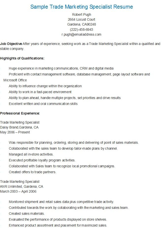 Sample Trade Marketing Specialist Resume resame Pinterest
