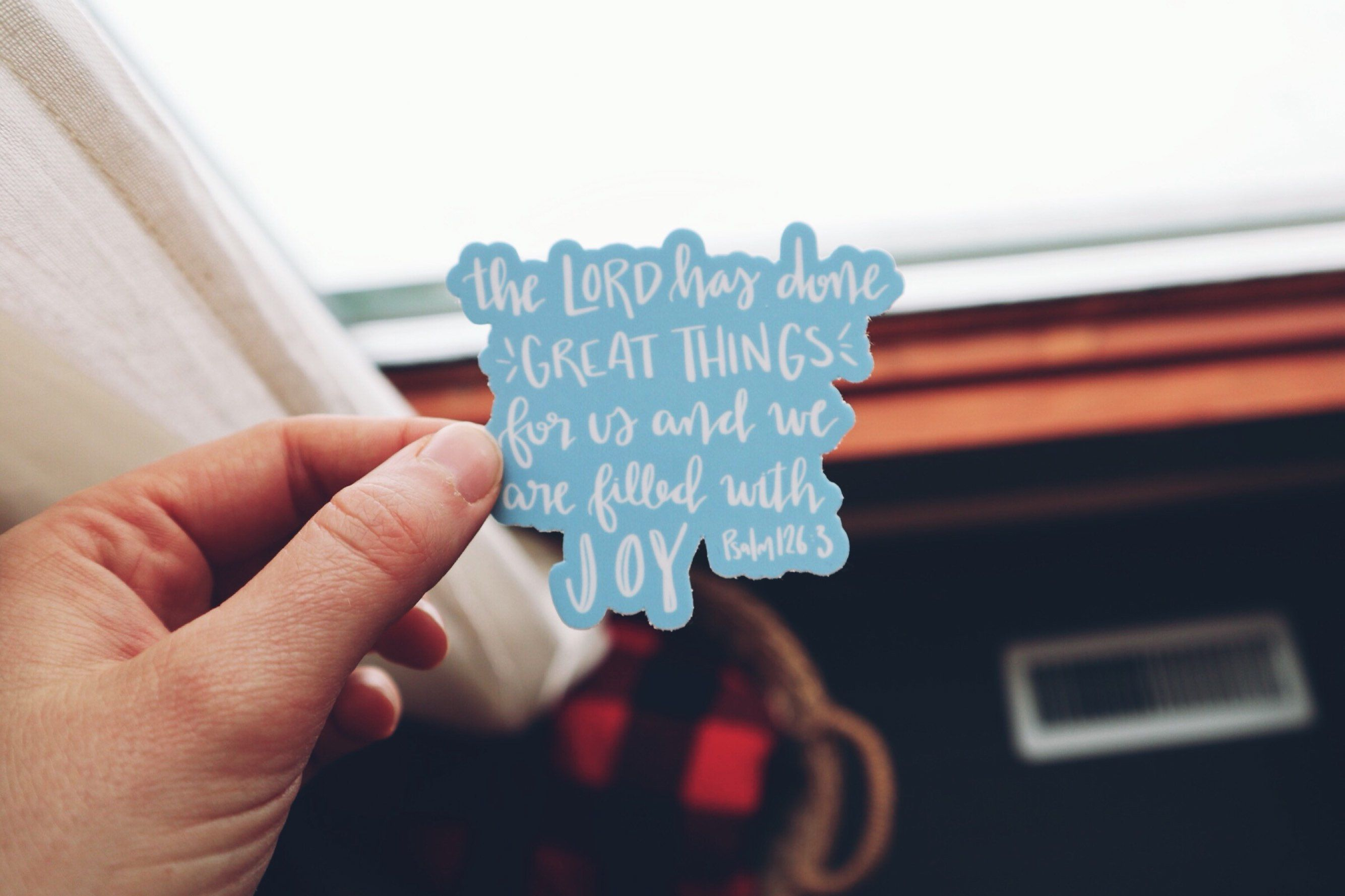 Vinyl Sticker The Lord Has Done Great Things For Us And We Are Filled With Joy Christian Art Laptop Sticker Christian Sticker In 2020 Christian Stickers Vinyl Sticker Christian Hand Lettering