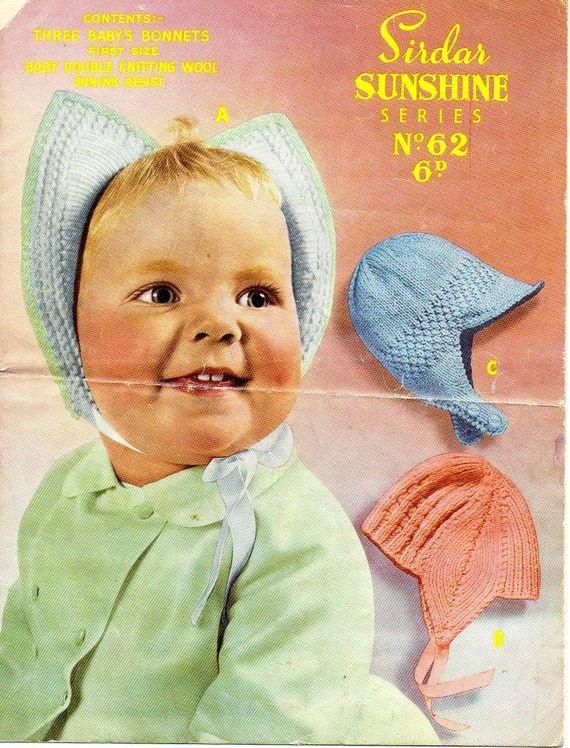 1930s Dutch Cap Baby Bonnet knitting pattern pdf 3 hats ...