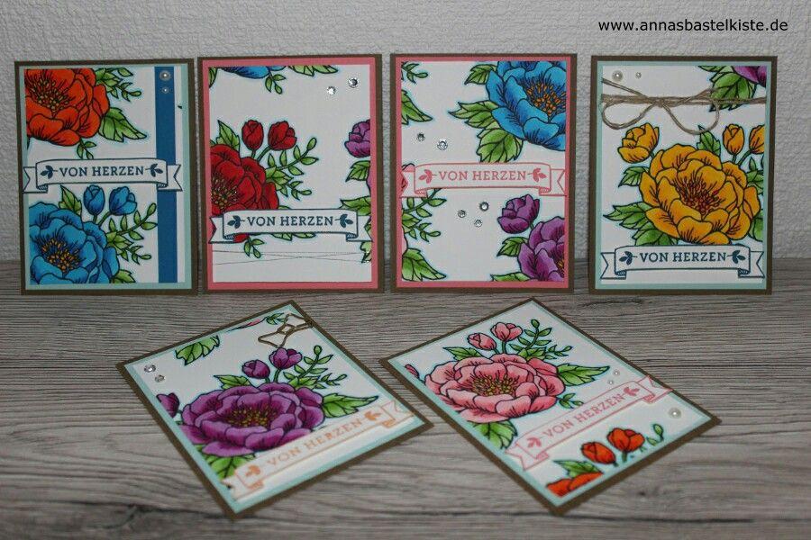 Mini Dankeskarte Grußkarte Geburtstagsblumen birthday flowers card Stampin Up AnnasBastelkiste