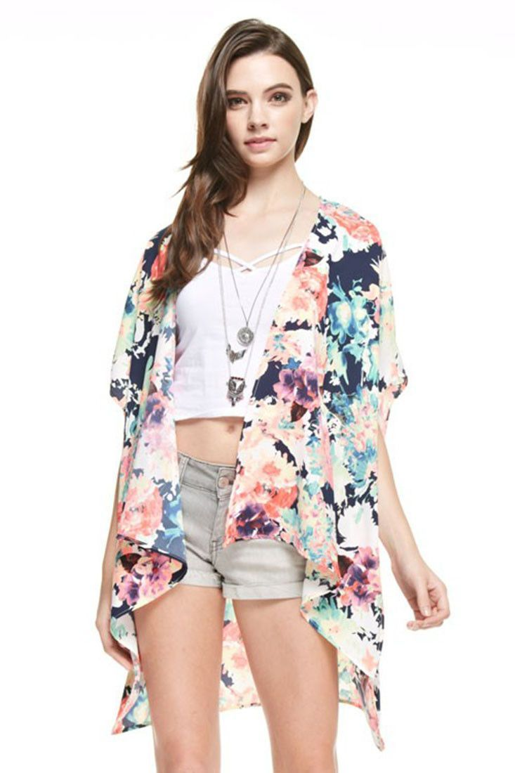 Multicolor Floral Sheer Kimono Cardigan Cover Up | Products ...