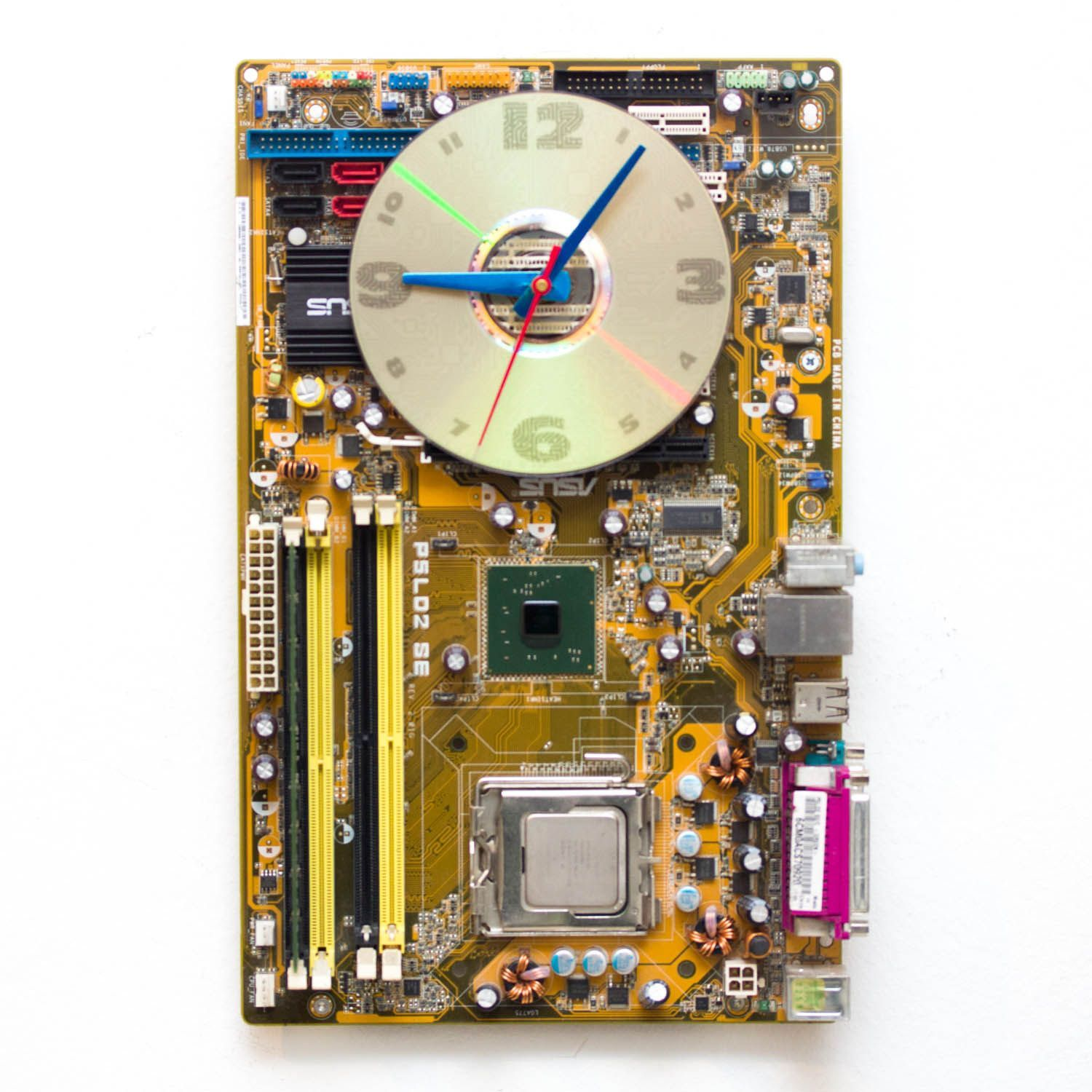 Techie Wall Clock Made Of Yellow Olive Green Circuit Board Recycle Boards Concept Electronic Junk