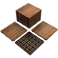 4 Slat Acacia Interlocking Deck Tile Set Of 10 Tiles Walmart Com In 2020 Paver Patio Patio Tiles Deck Tiles
