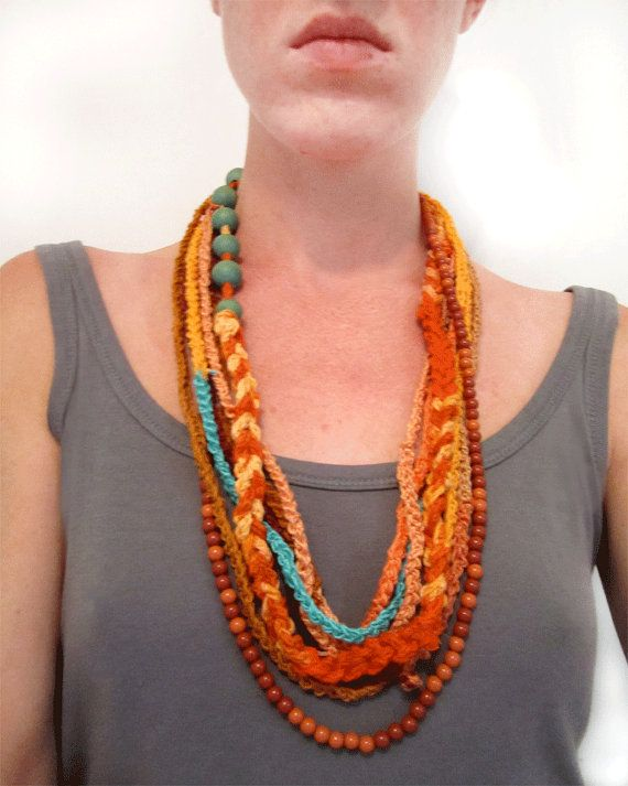 Tribal Necklace  Primitive Jewelry  Fiber Art  Fabric by KiteFlier, $60.00