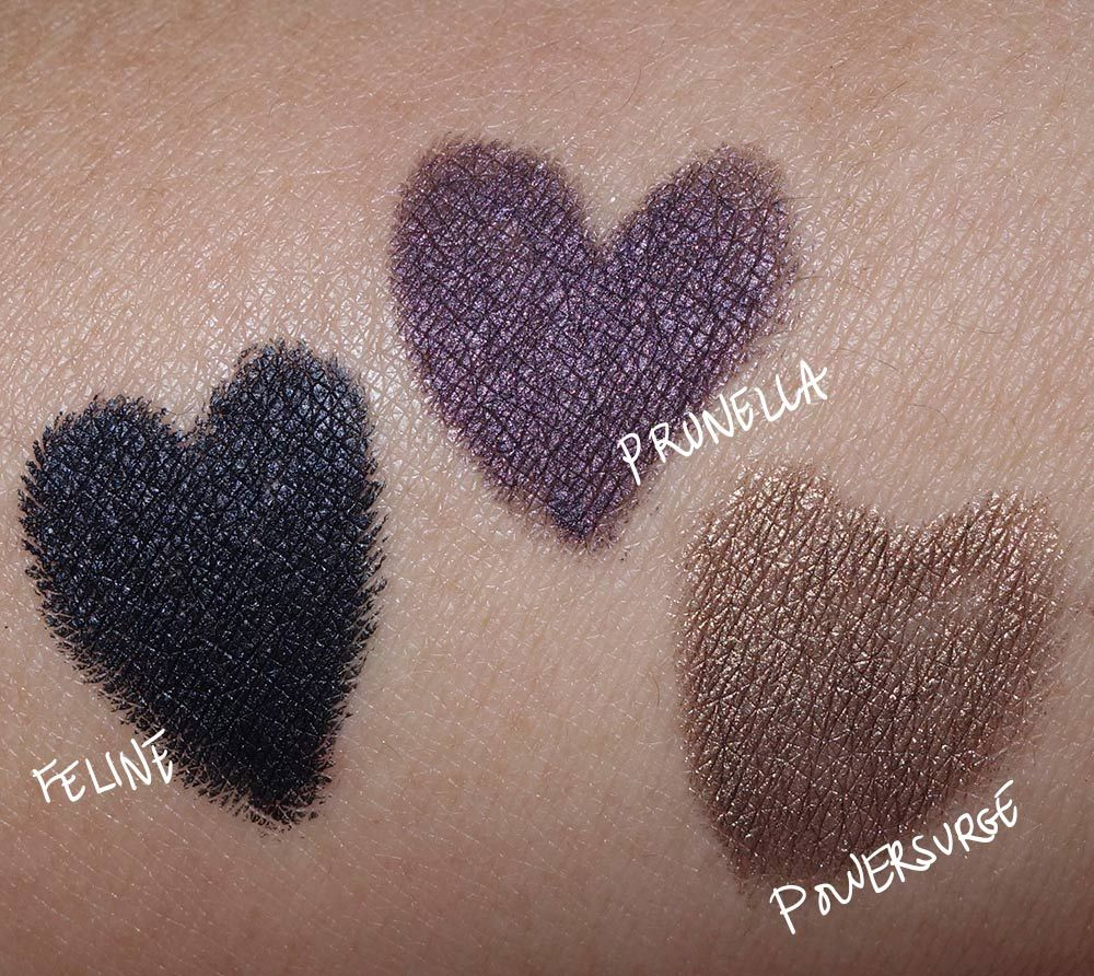 MAC Technakohl Liner swatches from the left: Snowed In, Sterling ...