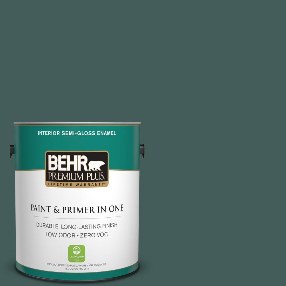 BEHR Premium Plus 1-gal. #490F-7 Jungle Green Zero VOC Semi-Gloss Enamel Interior Paint