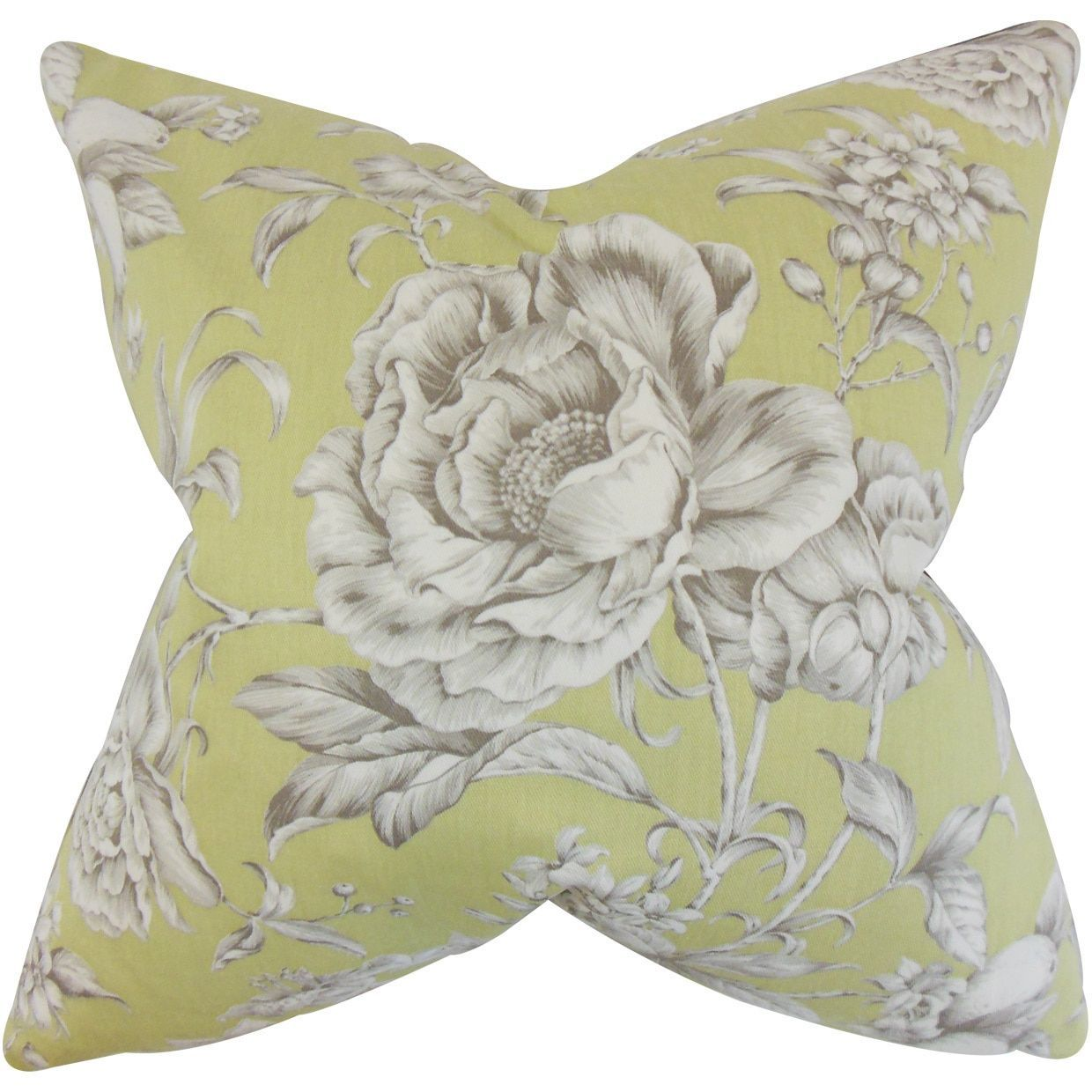 Desi floral inch down feather throw pillow green