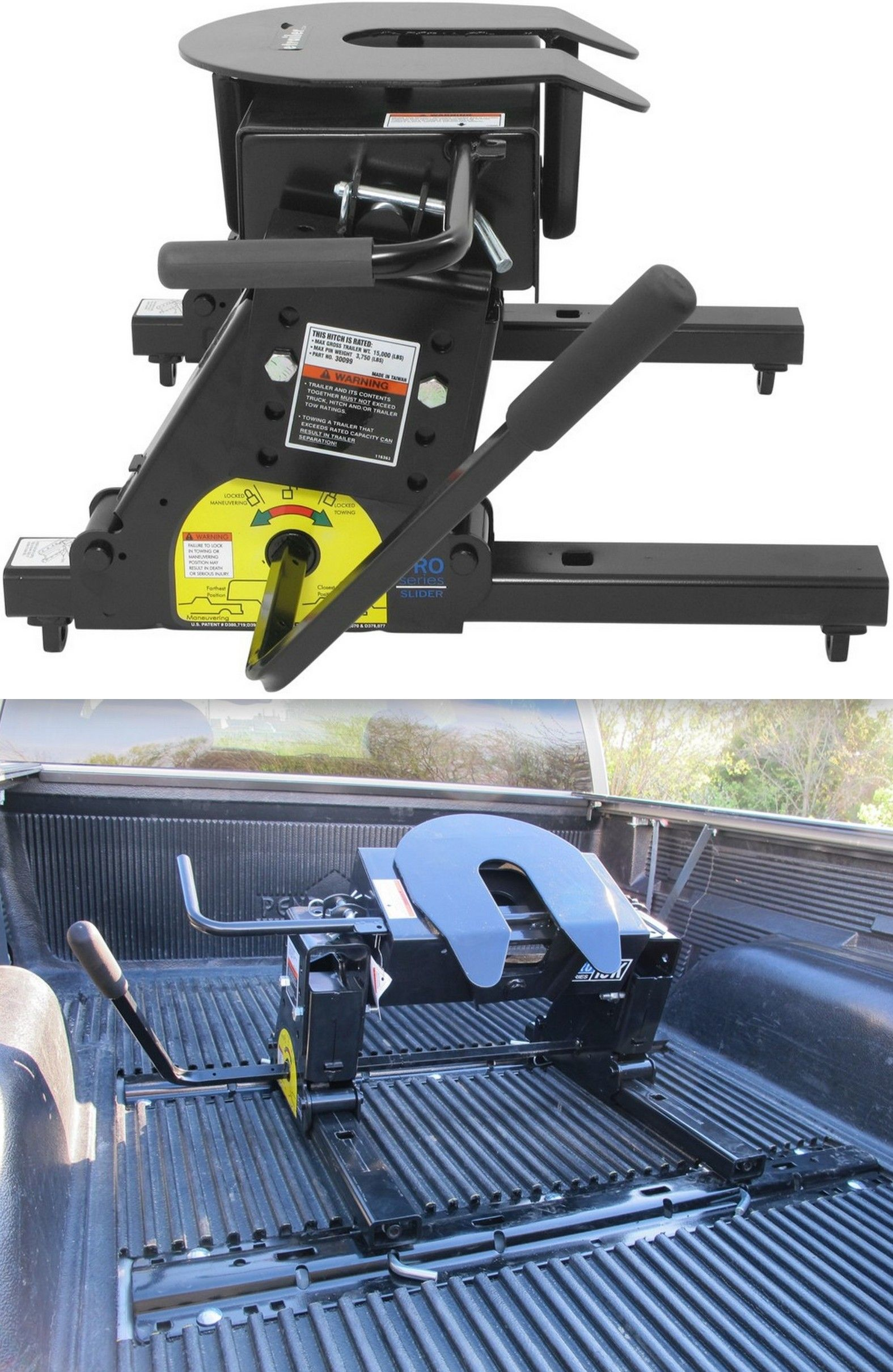 Pickup trucks perfect for short bed trucks this fifth wheel trailer hitch has a slider that moves the hitch and king pin closer to the tailgate to