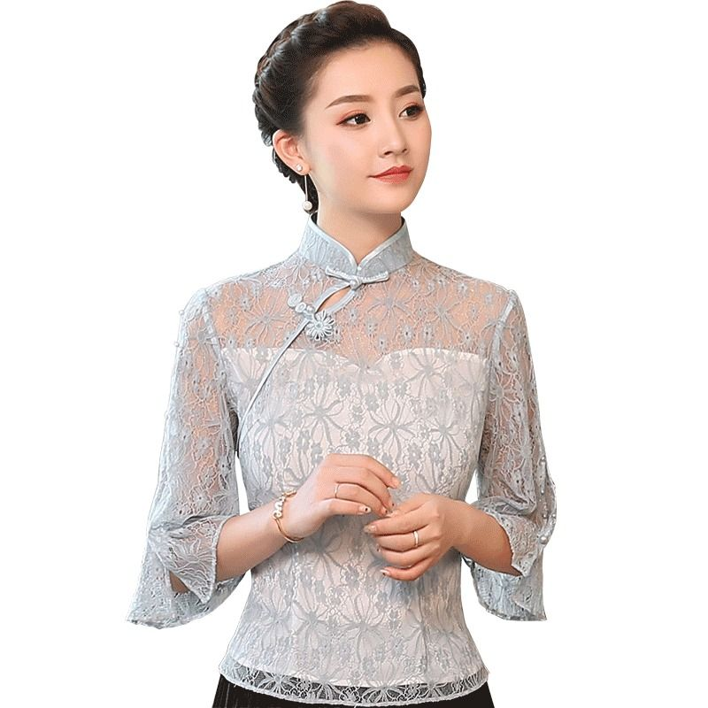 4c1f5b33d01a20 Attractive Floral Lace Qipao Cheongsam Shirt - Gray - Chinese Shirts &  Blouses - Women