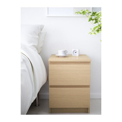 Malm Kommode Mit 2 Schubladen Eichenfurnier Weiss Lasiert Ikea Deutschland Ikea Malm Dresser Bedroom Chest Of Drawers White Wood Desk