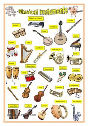 Musical Instruments Vocabulary Buscar Con Google Efl Pinterest