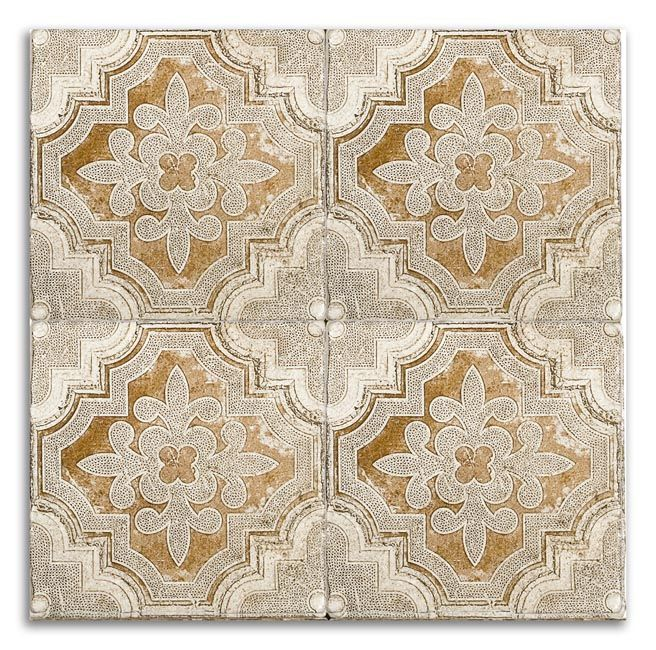 Altalena OCHRE motif board on Light Travertine