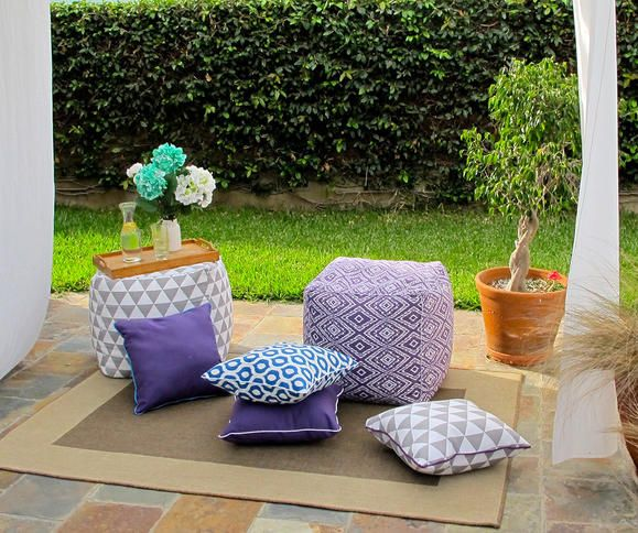 Outdoor cushions, shade and pillows