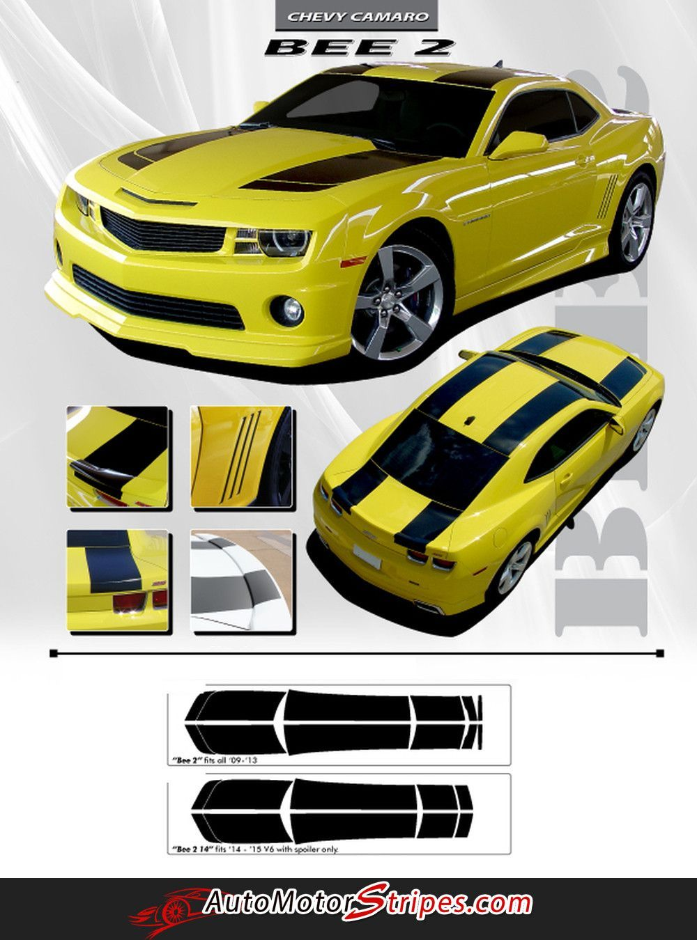Car sticker maker in delhi - 2010 2013 Or 2014 2015 Chevy Camaro Bumblebee Bee 2 Transformers Style Racing Rally Stripes 3m Kit For Ss Rs Lt Ls