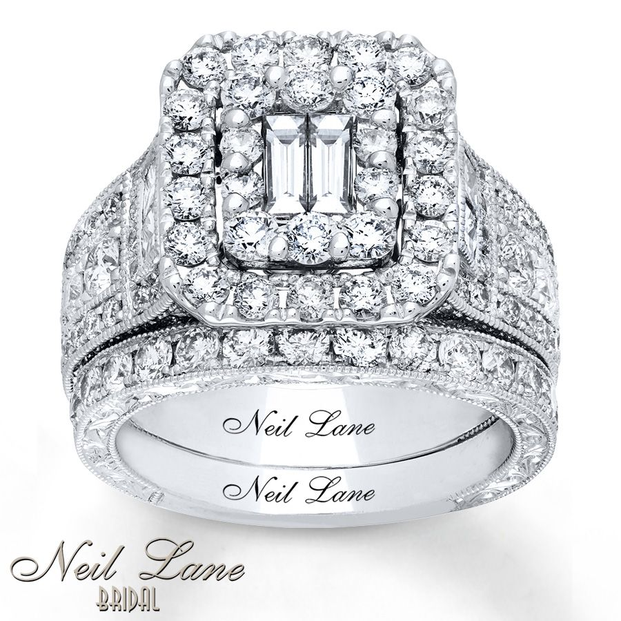 Neil Lane Bridal Set 3 1/4 ct tw Diamonds 14K White Gold
