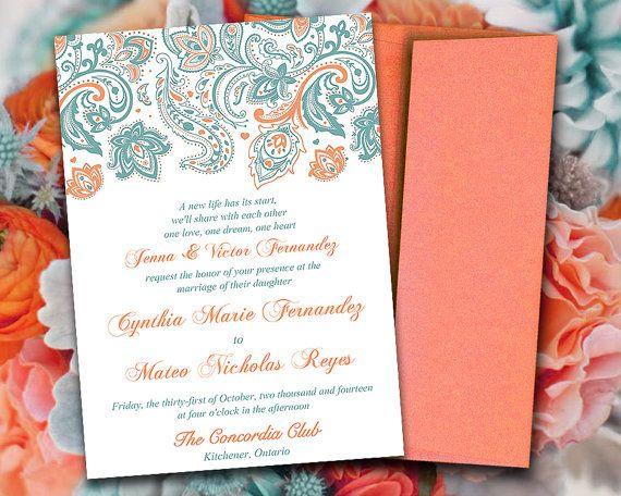 DIY Wedding Invitation Template Paisley Invitation Country Blue - 5x7 invitation template word