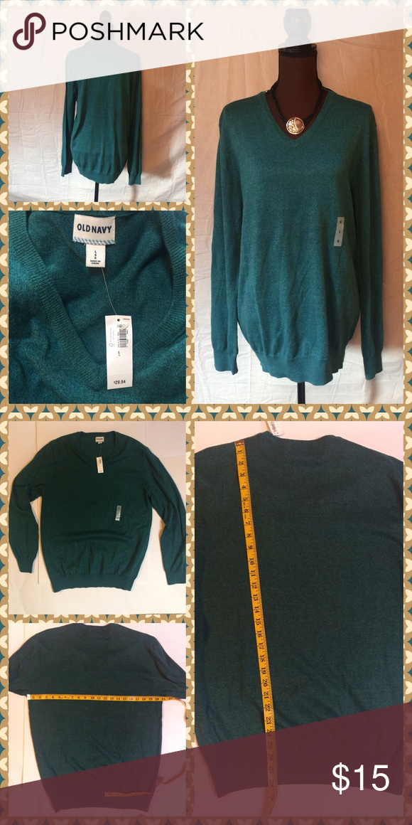 Old Navy v-neck sweater Green/blue Old Navy sweater BMWT. In new comments, no rips tears or stains. 60% cotton 40% poly. Measurements as shown in photos. Smoke free home. No trqdes. Old Navy Sweaters V-Necks