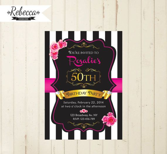 Black White And Pink Woman Birthday Invitation 21st 30th 40th 50th Birthd
