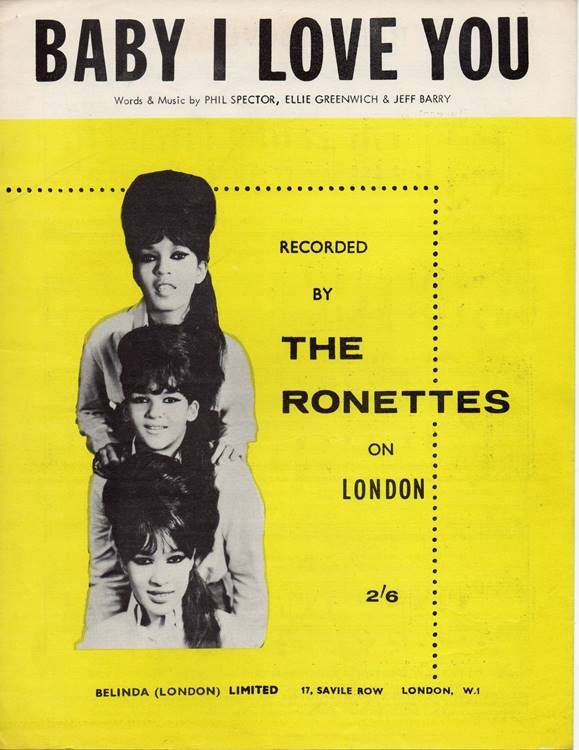 1964 The Ronettes sheet music | The ronettes, I love you words ...