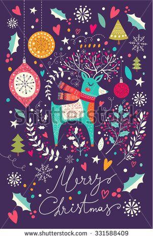 Vector Christmas illustration with Adorable Deer. Christmas Postcard - stock vector