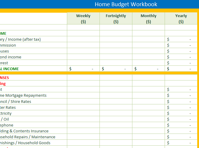 Get Your Finances In Order With This Personal Home Budget For