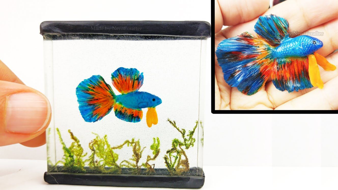 Diy Betta Fish Tank Chameleon Inks Resin Polymer Clay Tutorial