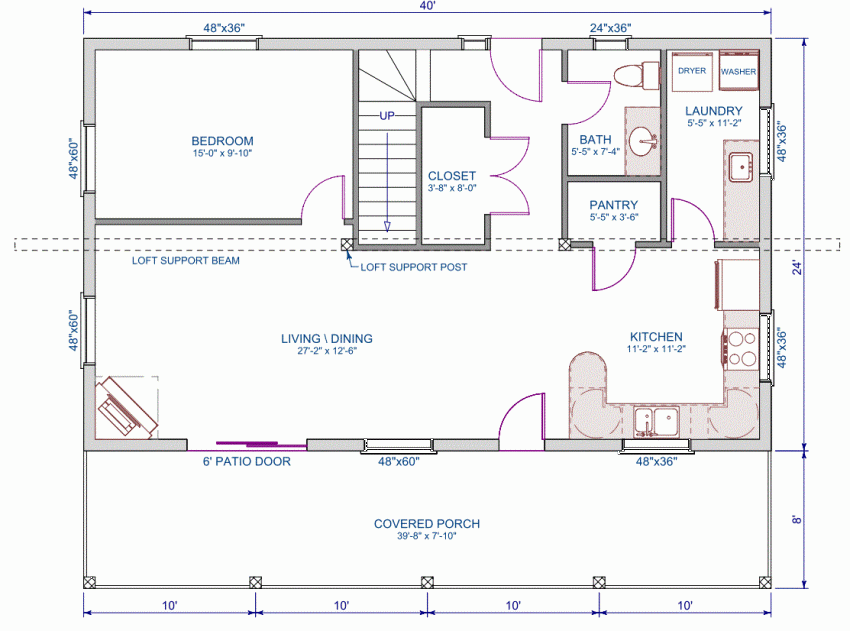 Floor plan main floor of 24'x40' home | Bedroom house ...