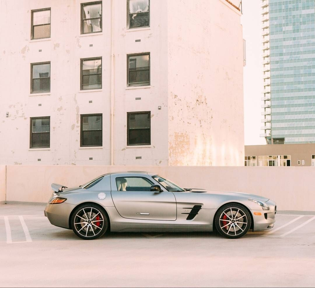 SLS AMG climbing above downtown Los Angeles. Photo by ...