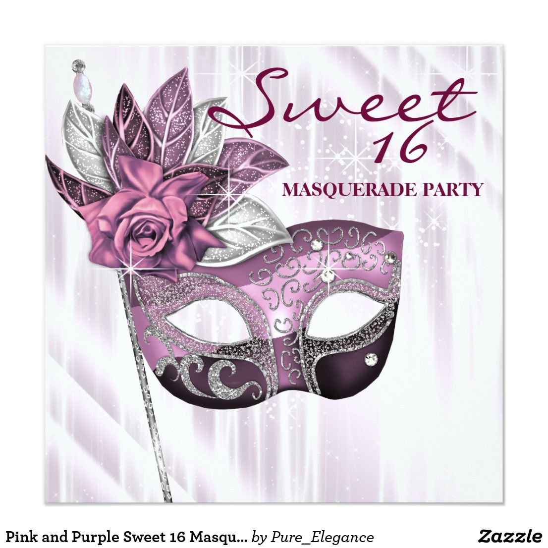 Pink and Purple Sweet 16 Masquerade Party Card | Purple sweet 16 ...