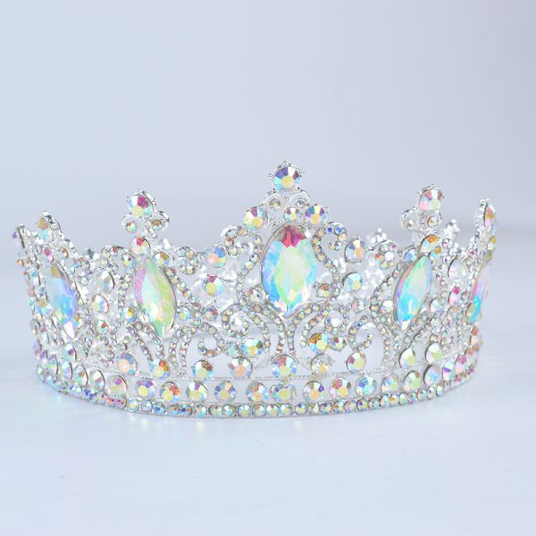 US $28.00  20% Off | Fashion Silver AB Tiara Crowns Crystal Queen Princess Diadem Bridal Round Crown Hair Jewelry For Wedding Women Hair Accessories #weddinghairjewelry