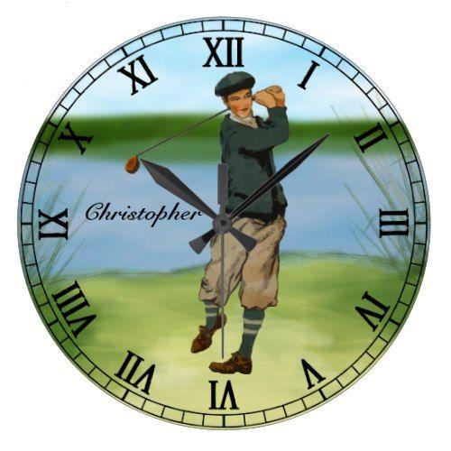 Personalized Vintage look Golfer Golf swing Large Clock