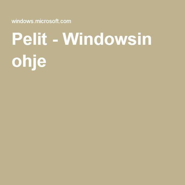 Pelit - Windowsin ohje