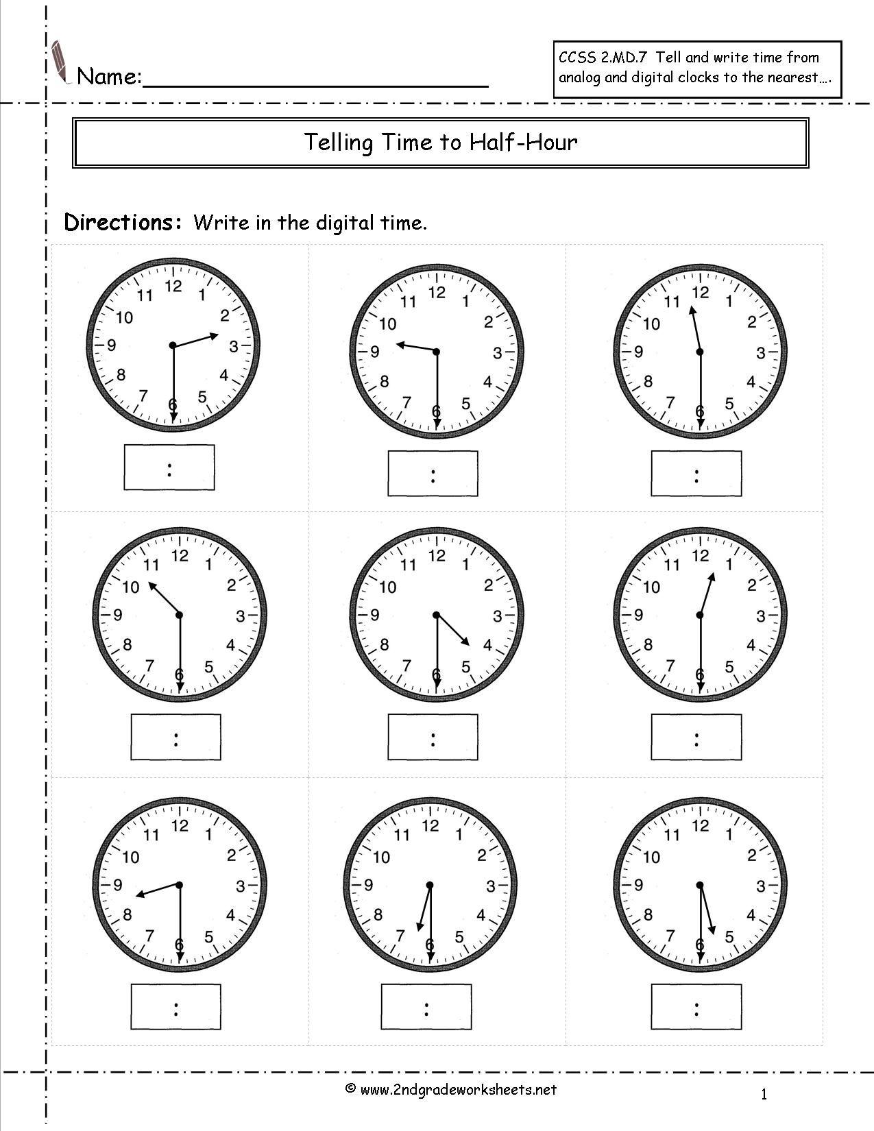 2ndgradeworksheets Tellingtime Timetohalfhour