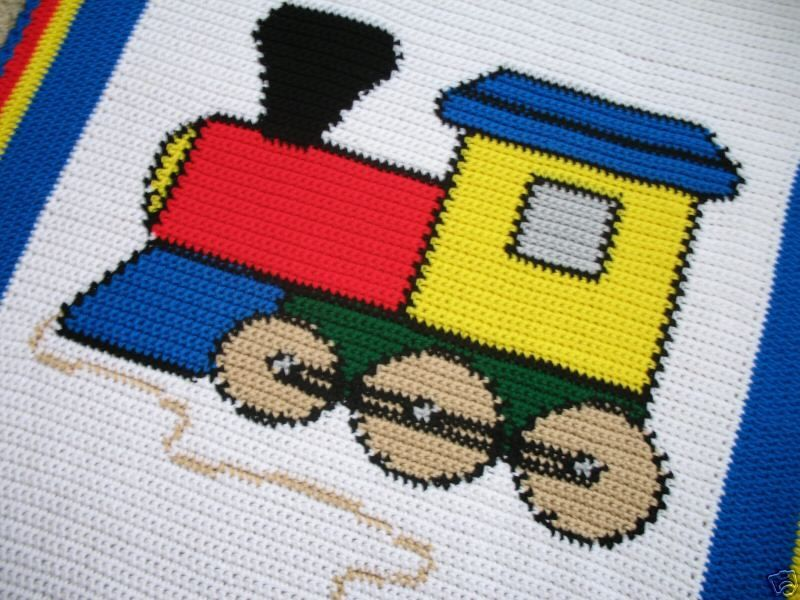 Crochet Patterns Toy Train Baby Afghan Pattern