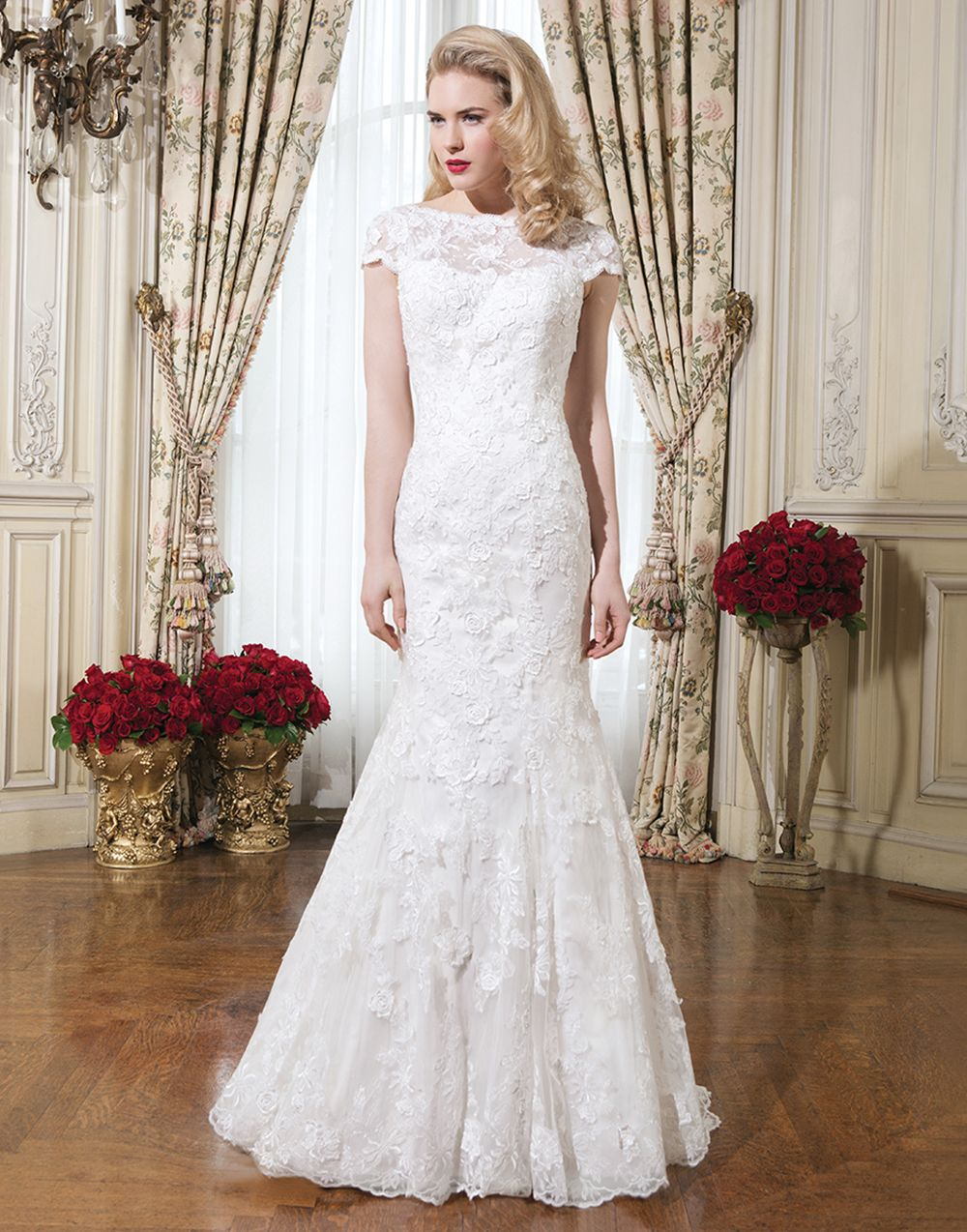 Justin Alexander Wedding Dresses Style 8754 Embroidered Lace Fit And Flare Dress Accented By A