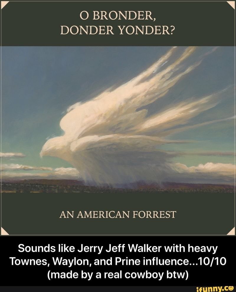 O Bronder Donder Yonder An American Forrest Sounds Like Jerry Jeff Walker With Heavy Townes Waylon And Prine Influence 10 10 Made By A Real Cowboy Btw Memes Forrest Gump Memes Sounds Like