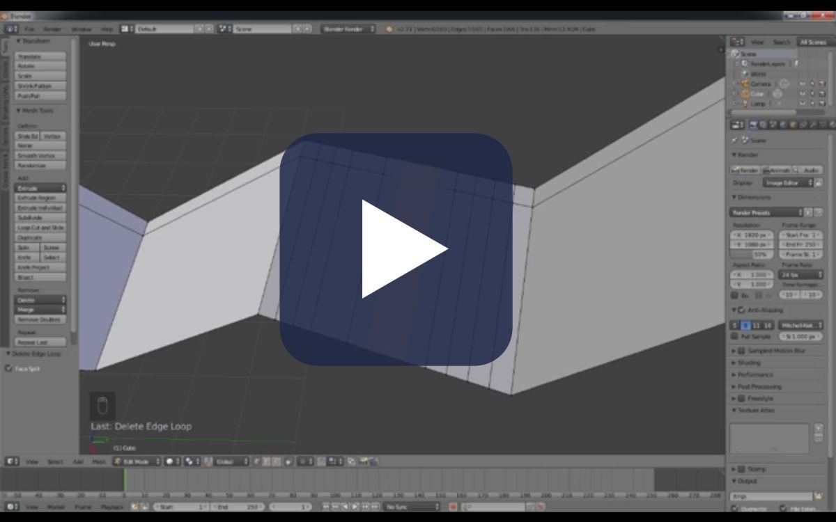 Tutorial del curso de Blender sobre edición de geometria dictado en el set de filmación FADU, UBA.